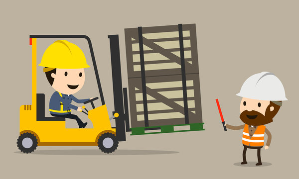 Safety Management and Control of Forklift, Vector illustration, Safety and accident, Industrial safety cartoon
