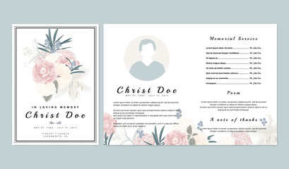 Botanical memorial and funeral invitation card template design, pink and white roses, lilies with leaves on white background Wall mural
