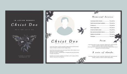 Botanical memorial and funeral invitation card template design, black paenia lactiflora flowers and fern on dark gray background