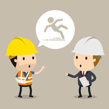 Talk to the manager about workplace safety, Vector illustration, Safety and accident, Industrial safety cartoon