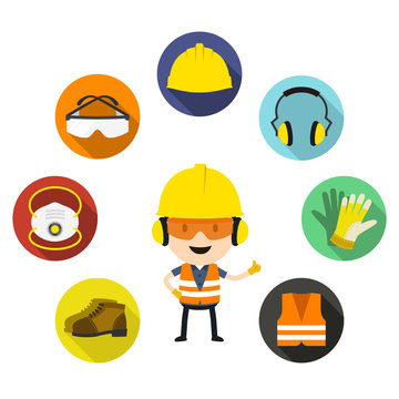 Personal protective equipment and safety icons, Vector illustration, Safety and accident, Industrial safety cartoon