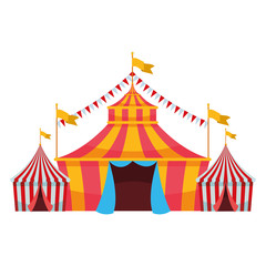big top circus with flag