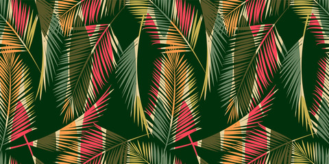 Foto auf Acrylglas Boho-Stil Abstract seamless pattern with tropical leaves. Hand draw texture