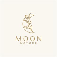 moon nature beautiful concept vector logo design