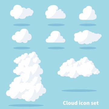 雲のイラストセット・雲のアイコンセット_カットイラスト・ベクターデータ