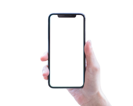 Smartphone in woman's hand isolated on white background with blank screen (clipping path)  for digital mobile smart phone mockup and template