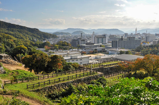 View for Tottori city from Tottori castle in Japan.