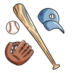 Baseball, baseball bat, hat and catchig glove doodles. Hand drawn image set