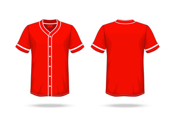 Specification Baseball T Shirt red white Mockup isolated on white background , Blank space on the shirt for the design and placing elements or text on the shirt , blank for printing , illustration