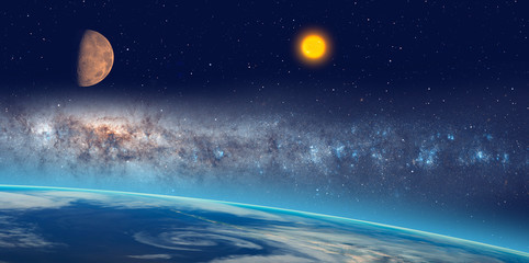 Wall Mural - View of Earth from outer space with millions of stars around it and sun