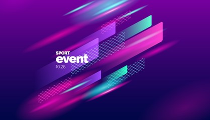 Layout design with dynamic shapes for event, tournament or championship. Sport background.