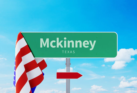Mckinney – Texas. Road or Town Sign. Flag of the united states. Blue Sky. Red arrow shows the direction in the city