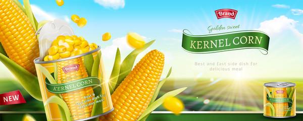 Premium kernel corn can banner Fototapete