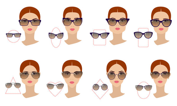 Female sunglasses shapes in accordance with the shape of the face. Eight Face shapes with options for spectacle frames on a white background. Flat design.