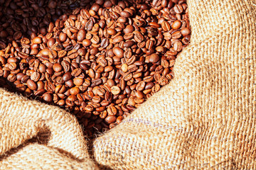 Closeup shot of a sack full of coffee beans