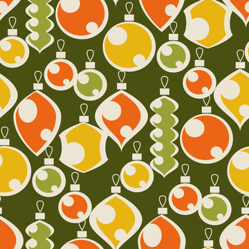 Vintage colors seamless pattern of xmas baubles