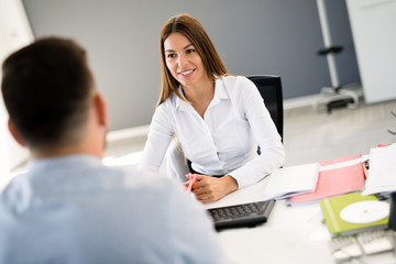 Picture of job interview in modern office
