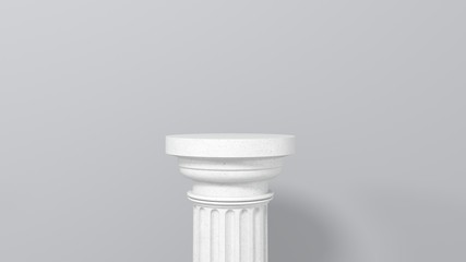 Exhibition stand, podium in the form of  classic Greek Doric pillars.  Minimalistic light background with copy space. 3d render illustration for advertising goods, products, museum expansions. Fototapete