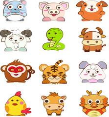Set of cartoon animals avatar isolated on white background