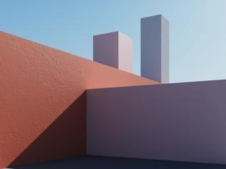 Konstrukcja architektoniczna na tle błękitnego nieba. 3d odpłacają się ilustrację z kopii przestrzenią. Prosta, stylowa, popularna ilustracja architektoniczna dla reklamy, biznesu, prezentacji, tapet. - 277841101