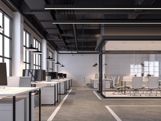 Modern loft style office 3d render.There are white brick walls, polished concrete floors and black ceilings with piping systems. decorated with white furniture,