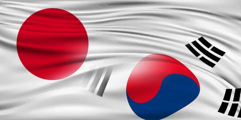 日本 韓国  国旗 背景