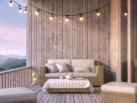 Wooden balcony with mountain view 3d render, The floor and walls are old wood, decorated with fabric and rattan furniture. Decorated with string lights.