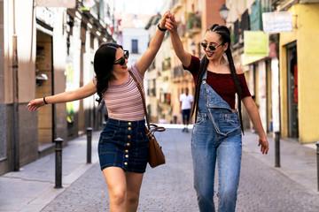 Friends having fun in Madrid