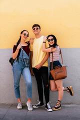Portrait of three friends in their twenties