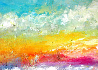 Blue sky and cloud sunset oil painting abstract background