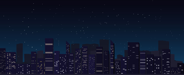 night city skyline background, megapolis, silhouette, illustration with architecture
