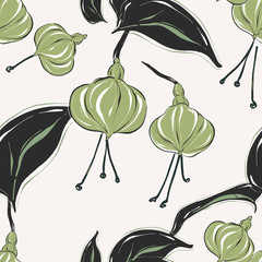 Botanical pattern with tender green pastel fllowers and leaves. Summer bouque collection. Ditsy  simple floral texture.  Green black drawing sketch art