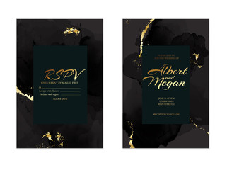 Black gold save the date rsvp  card. Wedding invitation lettering with alcohol ink splas. Liquid flow vintage template with golden foil elemtns. Modern business set