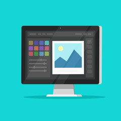 Photo or graphic editor on desktop computer monitor vector icon, flat cartoon pc screen with design or image editing software or program symbol isolated image