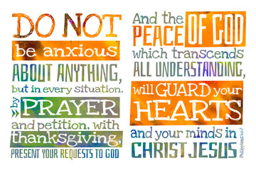 Do not be anxious about anything (Philippians 4:6-7) - Poster with Bible text quotation