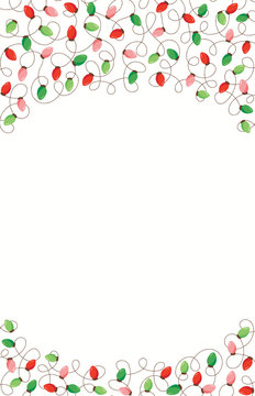Red and Green Holiday Christmas and New Year Intertwined String Lights on White Background Top and Bottom Frame Elements
