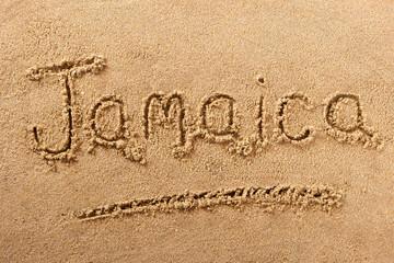 Jamaica beach sand sign message