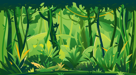 Poster Vert Wild jungle forest with trees, bushes and lianas, nature landscape with green jungle foliage and exotic plants growing on ground, horizontal banner with tropical plants on sunny day