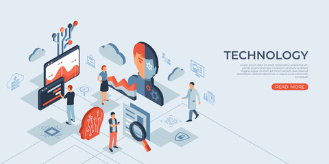 Artificial intelligence technology isometric icons