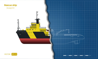 Outline blueprint of rescue ship on white background. Top, side and front view. Industry 3d drawing in realistic style. Isolated image of boat