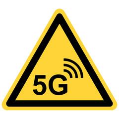 5G wireless und Warnschild