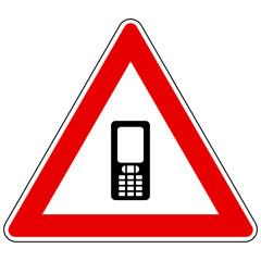 Handy und Achtung Schild