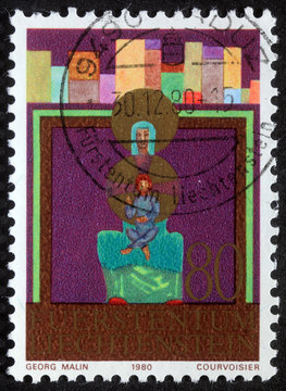 Christmas stamp printed in Liechtenstein shows Madonna and Child, circa 1980