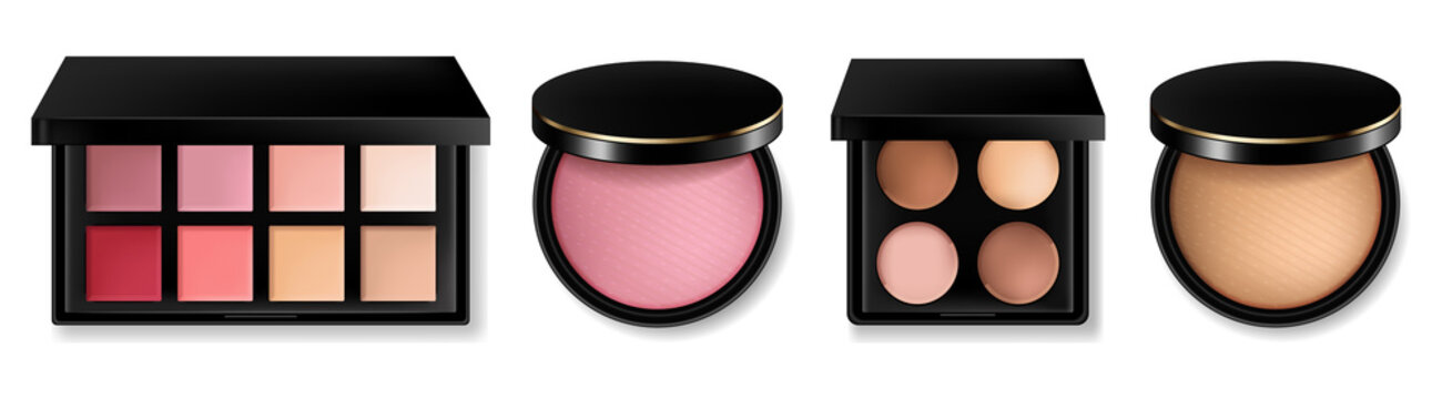Cosmetics set Vector realistic. Eye shadow, lip gloss and powder blush collection. Product placement. 3d illustrations