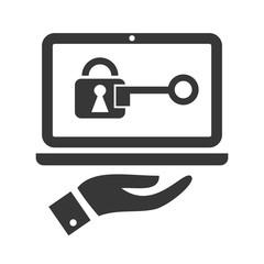 Datenschutz - Symbolbild mit Laptop, Schlüssel und Zylinderschloss