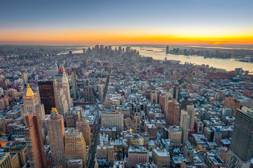 Dusk in Lower Manhattan, New York, United States.