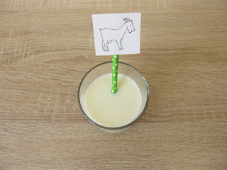 A glass of fresh goat milk