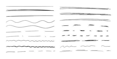 Vector Hand Drawn Underline Strokes Set Isolated on White Background, Scribble Black Drawings.