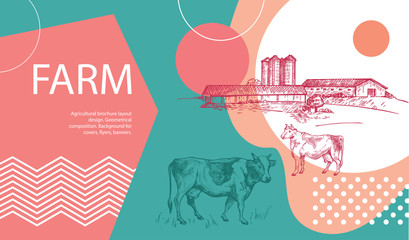 Horizontal agricultural banner with a picture of a barn, grain elevator and a cow.