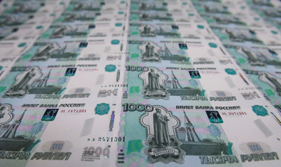 A sheet of 1000 Russian Roubles notes is pictured at Goznak printing factory in Moscow